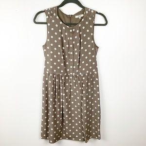 Madewell Silk Dress Size 2 Brown, White Polka dots